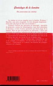 Genealogie De La Lumiere ; Du Panorama Au Cinema - 4ème de couverture - Format classique