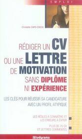 Faire son CV et sa lettre de motivation sans diplôme ni expérience - Intérieur - Format classique
