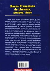 Les Races Francaises De Chevaux ; Poneys Et Anes - 4ème de couverture - Format classique
