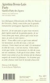 Party. Garden-Party Des Acores - 4ème de couverture - Format classique