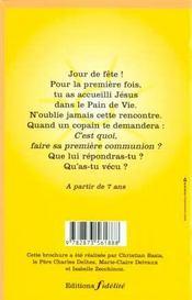 Ma Premiere Communion Aux Couleurs De L'Arc-E-Ciel - 4ème de couverture - Format classique