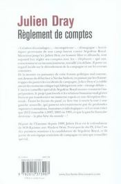 Règlements de comptes - 4ème de couverture - Format classique