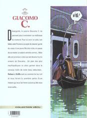 Giacomo C. t.14 ; boucle d'or - 4ème de couverture - Format classique