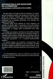 Introduction à une sociologie de la formation ; les pratiques constituantes et les modèles - 4ème de couverture - Format classique
