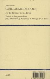 Guillaume De Dole Ou Le Roman De La Rose. Traduction En Francais Moderne - Couverture - Format classique