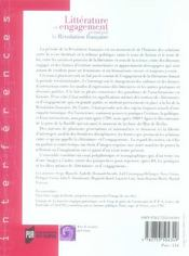 Littérature et engagement pendant la Révolution française - 4ème de couverture - Format classique