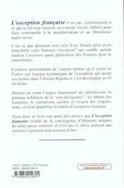 L'Exception Francaise Pourquoi ? - 4ème de couverture - Format classique