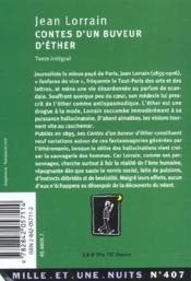 Contes D'Un Buveur D'Ether - 4ème de couverture - Format classique