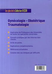 Gynécologie-obstétrique, traumatologie - 4ème de couverture - Format classique
