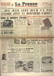 Presse (La) N°152 du 11/10/1948 - Couverture - Format classique