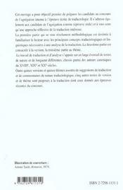 L'Epreuve De Traductologie A L'Agregation Interne Capes/Agregation Anglais - 4ème de couverture - Format classique