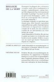 Biologie De La Mort - 4ème de couverture - Format classique