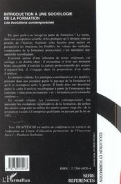 Introduction A Une Sociologie De La Formation T.2 ; Les Evolutions Contemporaines - 4ème de couverture - Format classique