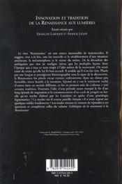 Innovation et tradition de la renaissance aux lumieres - 4ème de couverture - Format classique