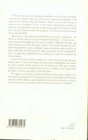 Frontieres Kantiennes - 4ème de couverture - Format classique