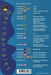 Bacchannales Sti ; Mathématiques ; Terminale Sti/Stl ; Sujets Du Bac Corrigés Et Commentés Et Résumé De Cours (3e Edition) - 4ème de couverture - Format classique