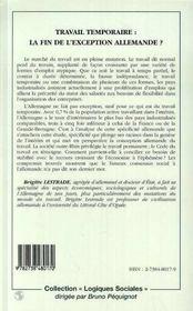 Travail Temporaire ; La Fin De L'Exception Allemande - 4ème de couverture - Format classique