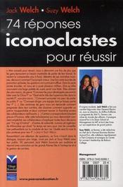 74 réponses iconoclastes pour réussir - 4ème de couverture - Format classique
