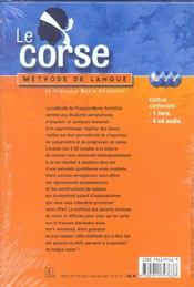 Le corse ; méthode de langue - 4ème de couverture - Format classique