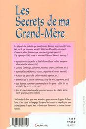 Les secrets de ma grand-mere ; secrets de grands-mères, trucs de bonne femme - 4ème de couverture - Format classique