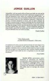 Jorge Guillen - Couverture - Format classique