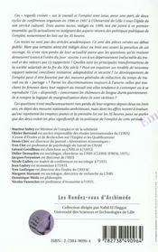 Emploi Et Travail ; Regards Croises - 4ème de couverture - Format classique
