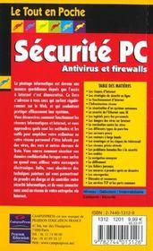 Tout En Poche Securite Pc Pour Internet - 4ème de couverture - Format classique