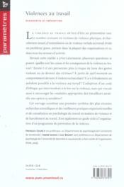 Violences au travail ; diagnostic et prévention - 4ème de couverture - Format classique