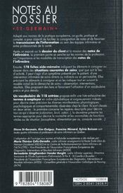 Notes au dossier ; guide de rédaction pour l'infirmière - 4ème de couverture - Format classique