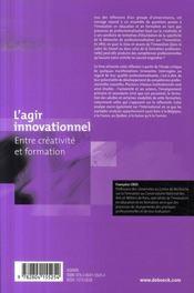 L'agir innovationnel entre créativité et formation - 4ème de couverture - Format classique