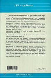1918 et Apollinaire - 4ème de couverture - Format classique