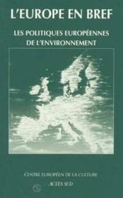 Les Politiques Europeennes De L'Environnement - Couverture - Format classique