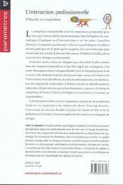 L'interaction professionnelle ; efficacité et coopération - 4ème de couverture - Format classique