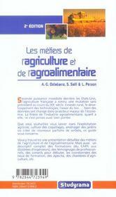 Les metiers de l'agriculture et l'agroalimentaire - 4ème de couverture - Format classique
