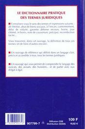 Dictionnaire Pratique Des Termes Juridiques - 4ème de couverture - Format classique