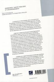 Hormones, sante publique et environnement - 4ème de couverture - Format classique