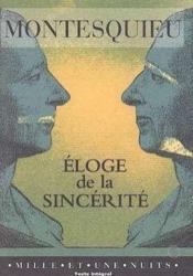 Eloge De La Sincerite - Couverture - Format classique