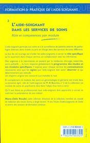 L'Aide Soignant Dans Les Services De Soins ; Role Et Competences Par Module - 4ème de couverture - Format classique