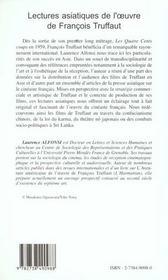 Lectures Asiatiques De L'Oeuvre De Francois Truffaut - 4ème de couverture - Format classique
