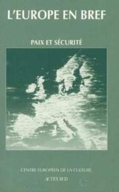 Paix Et Securite - Couverture - Format classique