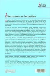 Alternance(s) en formation - 4ème de couverture - Format classique