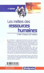 Les metiers des ressources humaines - 4ème de couverture - Format classique