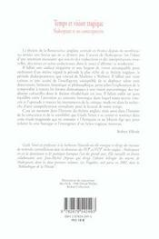 Temps Et Vision Tragique. Shakespeare Et Ses Contemporains - 4ème de couverture - Format classique