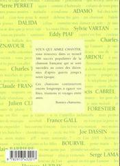 186 succès de la chanson française - 4ème de couverture - Format classique