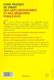 Guide pratique du droit des arts divinatoires et des medecines paralleles - 4ème de couverture - Format classique