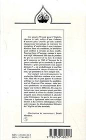 Paysages littéraires algériens des années 90 ; témoigner d'une tragédie ? - 4ème de couverture - Format classique