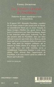 Les Derniers Instants De Pouchkine - 4ème de couverture - Format classique