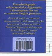 Le Petit Livre Du Francais Sans Fautes - 4ème de couverture - Format classique