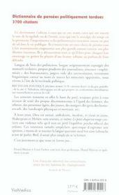 Dictionnaire de pensees politiquement tordues - 4ème de couverture - Format classique