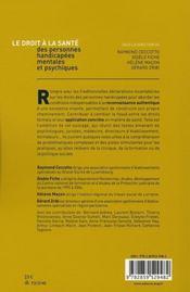Le droit à la santé des personnes handicapés mentales et psychiques - 4ème de couverture - Format classique